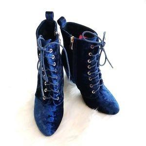 Catherine Malandrino Blue Crushed Velvet Booties